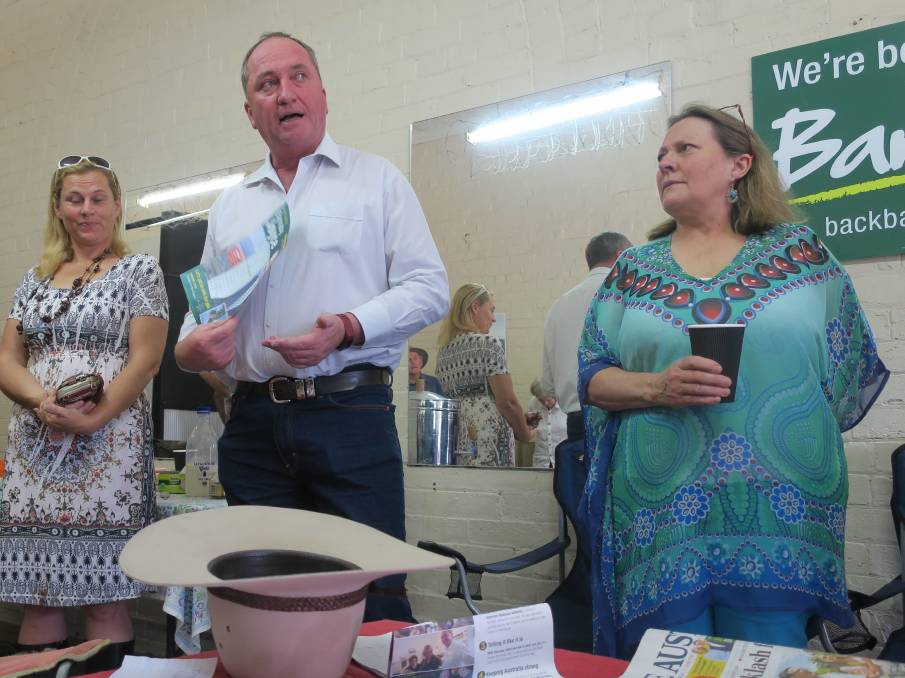 Barnaby Joyce campaigning in New England in December. He missed the National's recent AGM in Glen Innes.